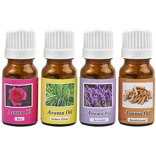 Cocodoes Aroma Oil Home Liquid Air Freshener Set Of 4 (ROSE LEMONGRASS SANDALWOOD LAVENDER 40ml)
