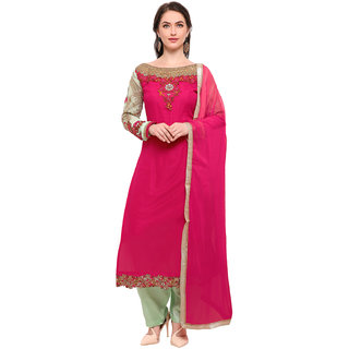 Swaron Women's Pink and Green Colored Georgette Semi Stitched Salwar Suit