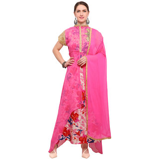 Swaron Women's Pink and Multi Colored Georgette,Santoon Semi Stitched Salwar Suit