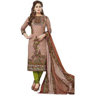 Jevi Prints Women's Unstitched Pure Cotton Brown & Green Floral Printed Salwar Suit Dupatta Material