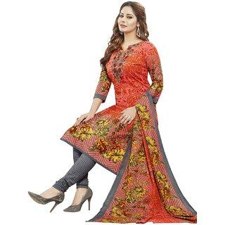Jevi Prints Women's Unstitched Pure Cotton Orange & Grey Floral Printed Salwar Suit Dupatta Material