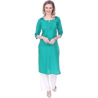 Mystika Women's Green Color Cotton Slub Pintucks Kurti with Rollup Sleeves (MD-25001-G)