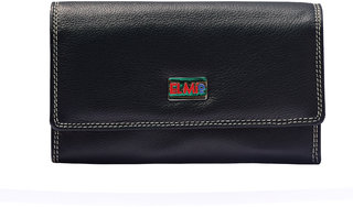 EL MIO Casual, Wedding, Party, Formal, Festive Multicolored Soft Pure Genuine Leather Woman Black Clutch, Wallet, Purse