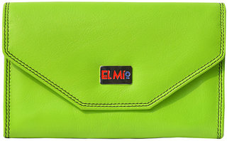 EL MIO Casual, Wedding, Party, Formal, Festive Multicolored Soft Pure Genuine Leather Woman Parrot Green Clutch  Wallet