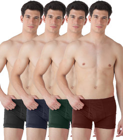Lienz Mens Inner Elastic Trunks Pack of 4 Assorted Color