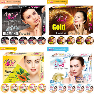 Skin Diva Diamond Gold Papaya Pearl Facial Kit 320gm