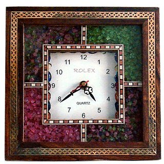 shoppingtara Antique Handcrafted Gemstone Wooden Wall Clock