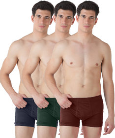 Lienz Mens Inner Elastic Trunks Pack of 3 Assorted Color