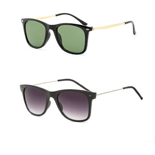 Royal Son Black Square and Green Square Unisex Sunglasses Combo