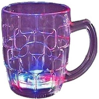 Fiber Glass Beer Mug/Cup With Rainbow Color Led Changing Liquid Activated Lights