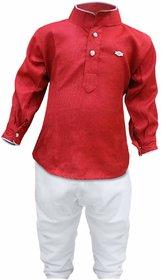 Tumble Maroon Mandarin Collar Full Sleeves Kurta  Pajama Set
