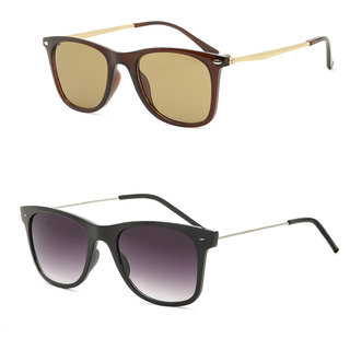 Royal Son Black Square and Brown Square Unisex Sunglasses Combo