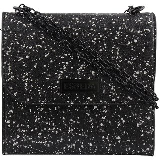 ESBEDA Black Printed PU Synthetic Slingbag For Women