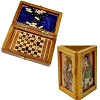 Shoppingtara Buy Travellers Mini Chess Box N Get Gemstone Painted Pen Stand Free