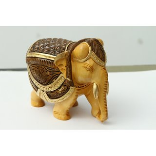 shoppingtara Painted Handcrafted Wooden Elephant (Brown)