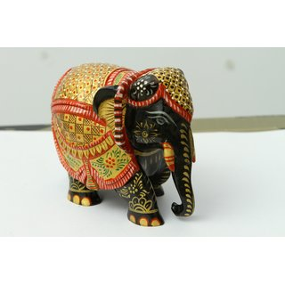 shoppingtara Painted Handcrafted Wooden Elephant (Black)
