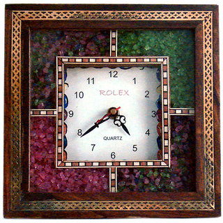 shoppingtara Antique Handcrafted Gemstone Wooden Wall Clock Decorative Clock