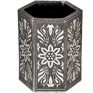 shoppingtara Jaipuri Handcrafted Designer White Metal Graceful Trendy Pen Stand