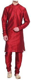 INYOUR Red Silk Kurta Pyjama Set Pack of 2