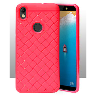 the latest a80ba 9973b ECellStreet Texture Leather Pattern Soft Cusion Padding Case Back Cover For  Tecno Camon i - Pink
