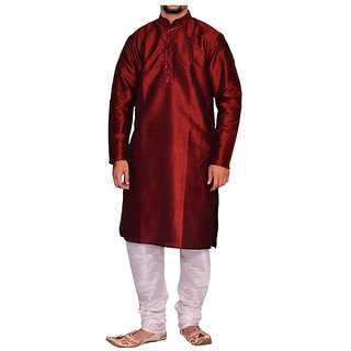 INYOUR Red Silk Kurta Pyjama Set Pack of 2