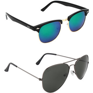 d7cce30be22 Buy Zyaden Combo of two Sunglasses Clubmaster   Aviator - Pack of 2 ...