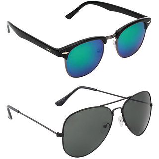 Zyaden Combo of two Sunglasses Clubmaster & Aviator - Pack of 2