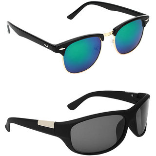 Zyaden Combo of two Sunglasses Clubmaster & Wraparound - Pack of 2