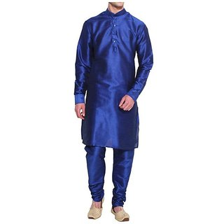 INYOUR Blue Silk Kurta Pyjama Set Pack of 2