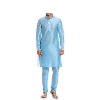 INYOUR Blue Silk Kurta Pyjama Set Pack of 2