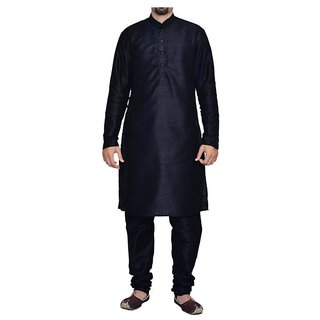 INYOUR Black Silk Kurta Pyjama Set Pack of 2