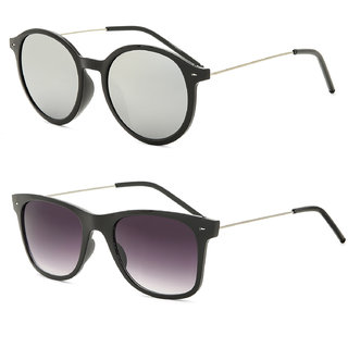 Royal Son Black Square and Silver Round Unisex Sunglasses Combo