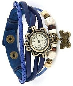 TRUE CHOICE BLUE LEATHER DORI ANALOG WATCH FOR GIRLS.