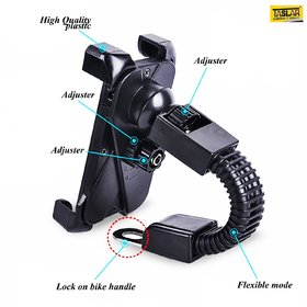 Bike Mount for Phone Anti Shake Fall Prevention Bicycle Handlebar Mobile Phone Holder Cradle Clamp with 360 Rotate for 3