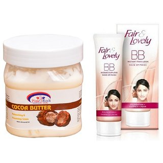 FAIR & LOVELY BB INSTANT FAIR LOOK CREAM 40G WITH PINK ROOT COCOA BUTTER CREAM 500ML