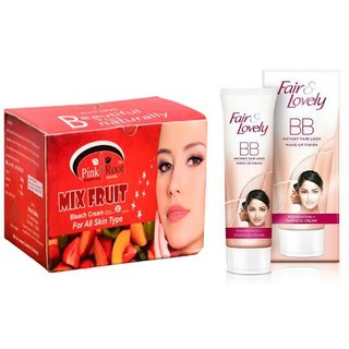 FAIR & LOVELY BB INSTANT FAIR LOOK CREAM 40g WITH PINK ROOT MIX FRUIT BLEACH 250G PACK OF 2