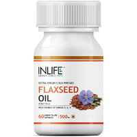 INLIFE Flax Seed Extra Virgin Cold Pressed Oil, 60 Capsules For Joint Pain