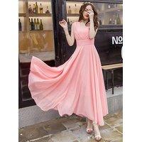 Pink Peach V-Neck Long Dress