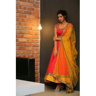 Butter Silk Fashion Orange And Yellow Banglori Silk Anarkali Dress