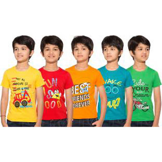 Pari  Prince Kids Muticolor cotton tshirt combo (Pack of 5) assorted colors