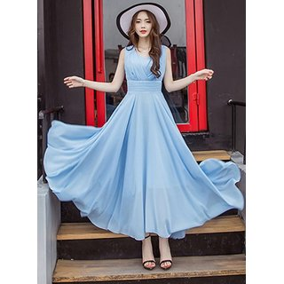 WC-1515 SKY BLUE V-Neck Long Dress