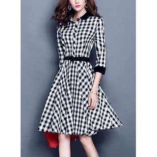 f857dbe8ff28a Buy WC-1516 Black White Check Midi Dress Online   ₹989 from ShopClues