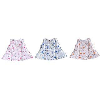 BelleGirl 100 Cotton Girl Tshirt Combo With White Colour 0-3M Pack of 3