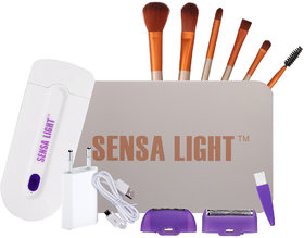 Sensa Light Sensitive Touch Hair Remover with Free Set of 6 Stylish MakeUp Brushes