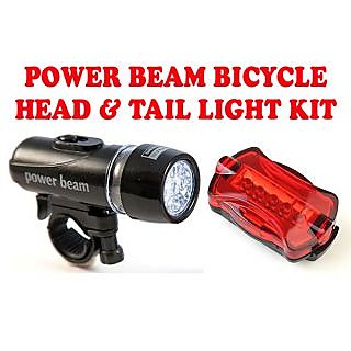 Gadget Heros Power Beam LED Head Tail Light Kit For Bike Bicycle Cycle Torch Headlight Lamp. 5 LED Head Light with 2 Modes + 6 LED Rear Light with 6 Modes