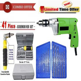 Combo of 10mm drill machine + drill bit set + 41 pcs tool set