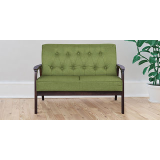 Bon Two Seater Sofa With Tufted Back Design In Green Colour By Aura