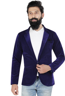 Trustedsnap Casual Blue Solid Blazer For Men's