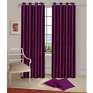 Cloud India Set Of 2 Plain Polyester Curtains For Door / Window ( 7 X 4 Feet Or 84 X 48 Inch) Purple