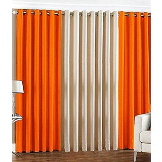 Buy Cloud India 7 Ft 3 Piece Eyelet Ployester Orange White Color Door Curtain For The Bedroom Living Room Offices Window Online 999 From Shopclues